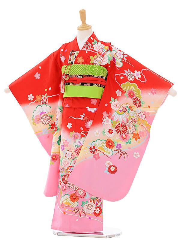七五三レンタル(7歳女の子結び帯)7443 赤地 裾ピンク 雪輪に花