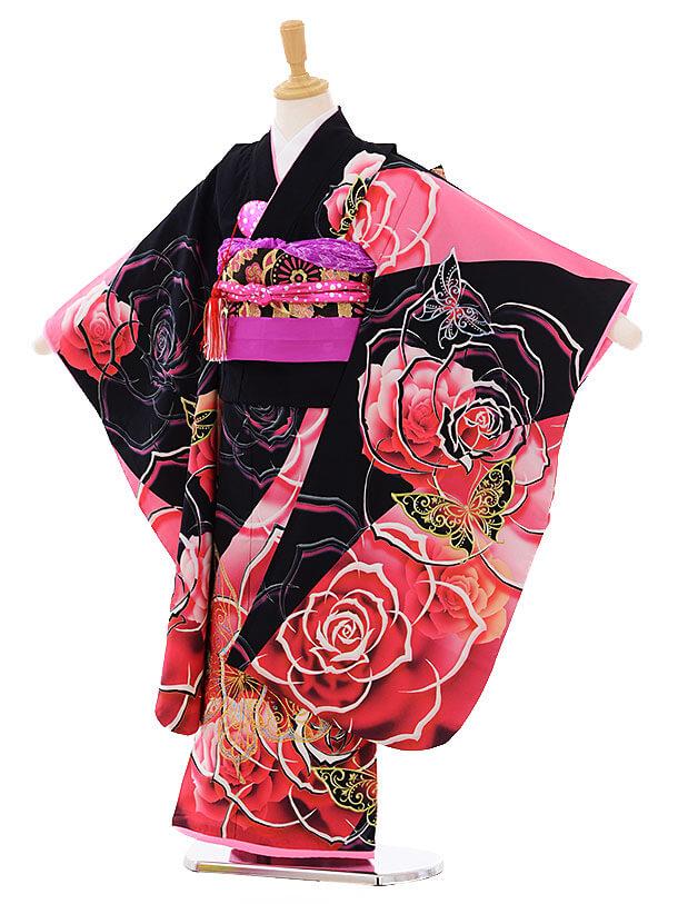 七五三(7歳女の子結び帯)7445 黒地 ピンクバラ蝶
