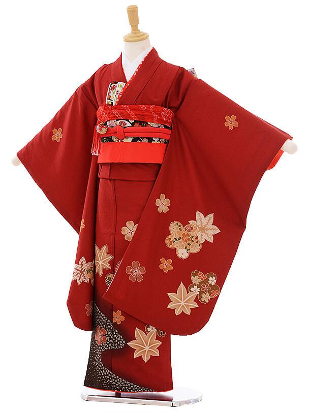 七五三レンタル(7歳女の子結び帯)7452 赤茶色 もみじ桜