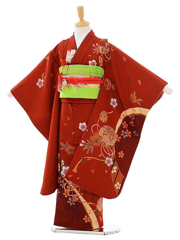 七五三(7歳女の子結び帯)7455 赤茶色 桜まり