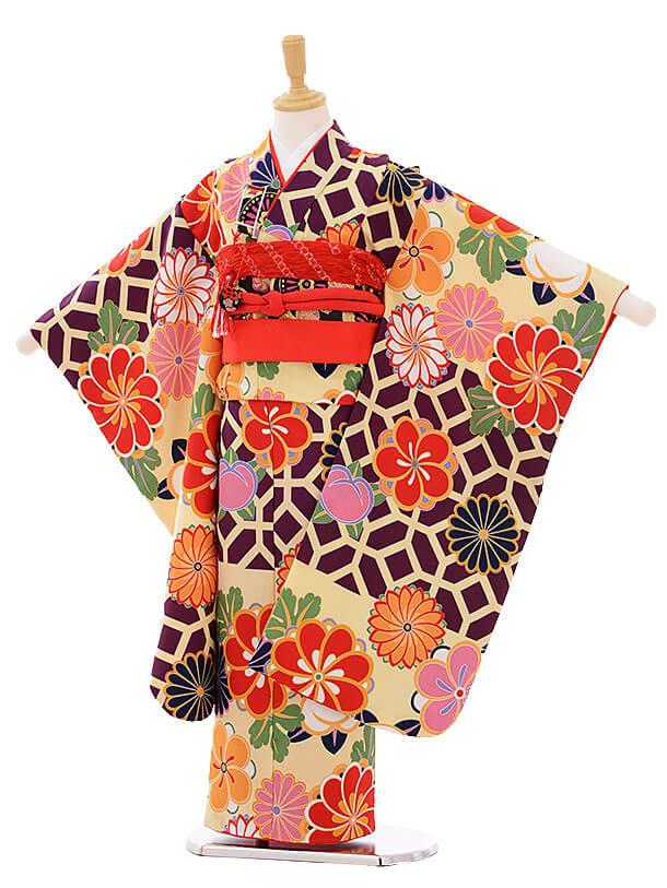 七五三(7歳女の子結び帯)7457 クリーム紫 菊梅