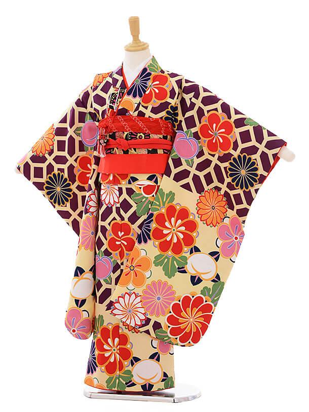 七五三(7歳女の子結び帯)7458 クリーム紫 菊梅