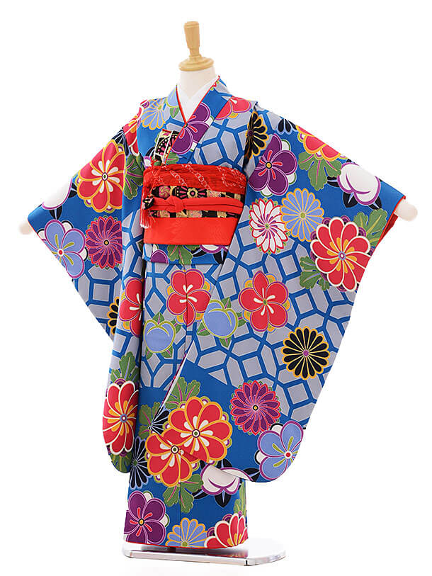 七五三レンタル(7歳女の子結び帯)7461 ブルーグレー 菊梅