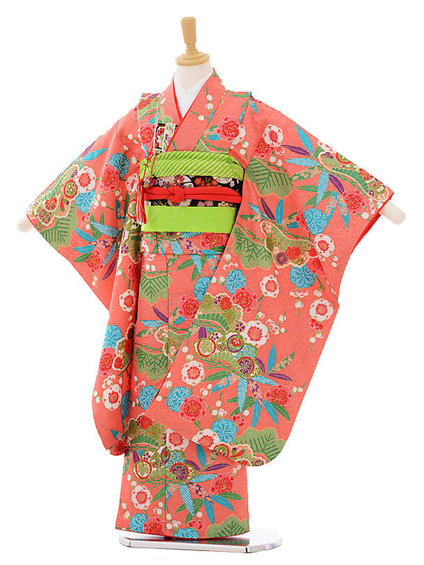 七五三レンタル(7歳女の子結び帯)7465 ピンク地 松竹梅