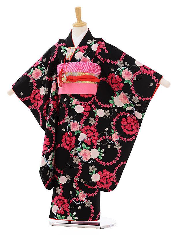 七五三(7歳女の子結び帯) 7466 黒地 桜