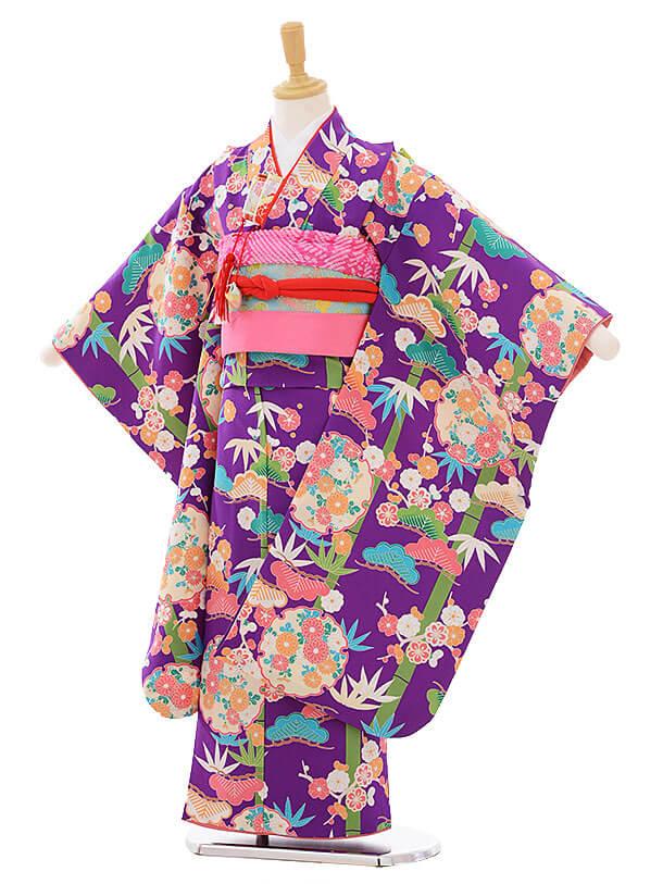 七五三(7歳女の子結び帯)7469 紫地 松竹梅に菊