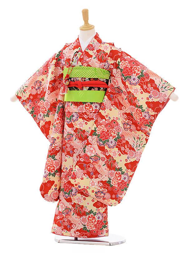 七五三(7歳女の子結び帯)7471 赤地 雲取に花車