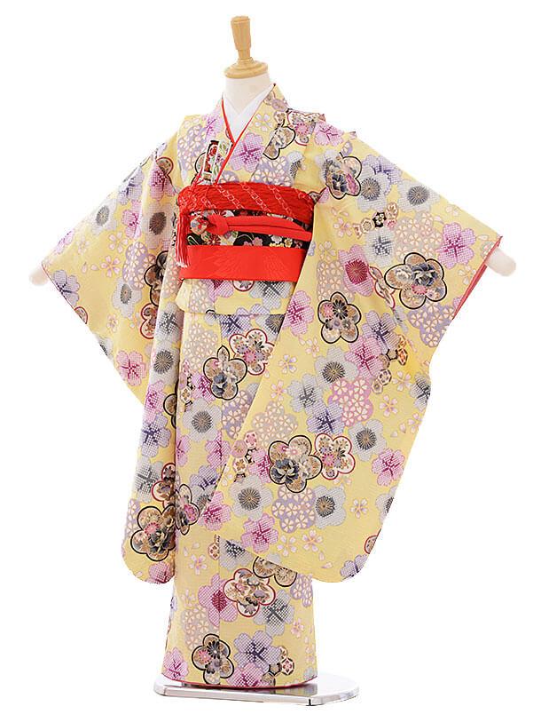 七五三(7歳女の子結び帯)7472 クリーム色 梅桜