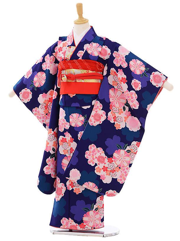 七五三(7歳女の子結び帯)7474 紺地 桜