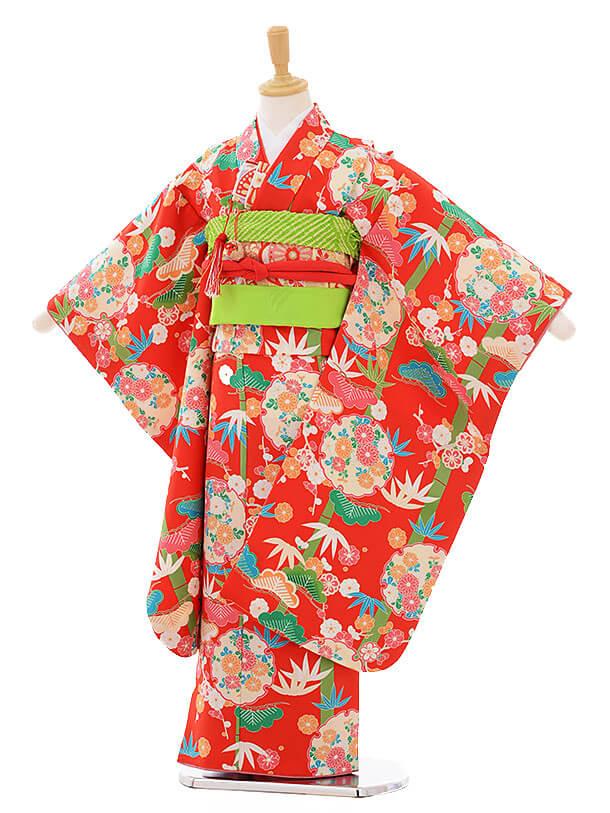 七五三(7歳女の子結び帯)7475 赤地 雪輪に松竹梅
