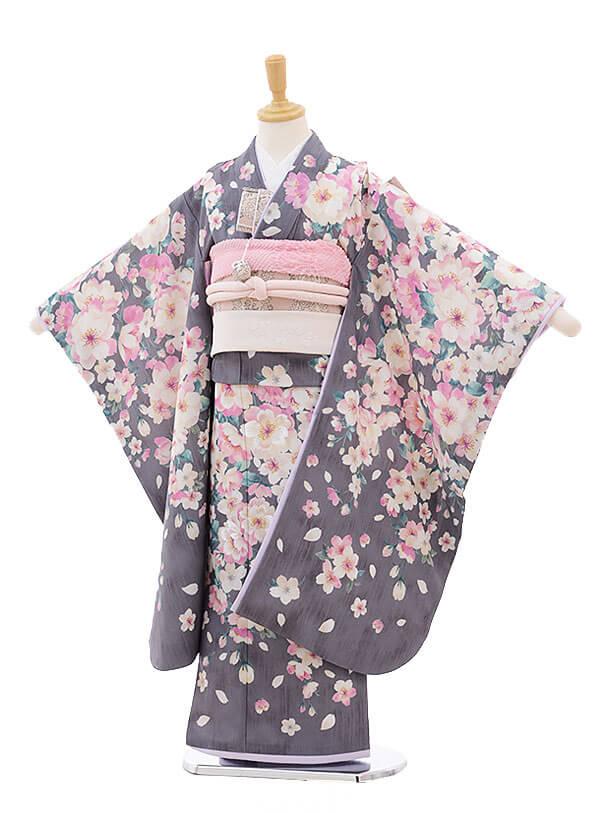 七五三レンタル(7歳女結び帯)7491 JILL STUART グレー 桜