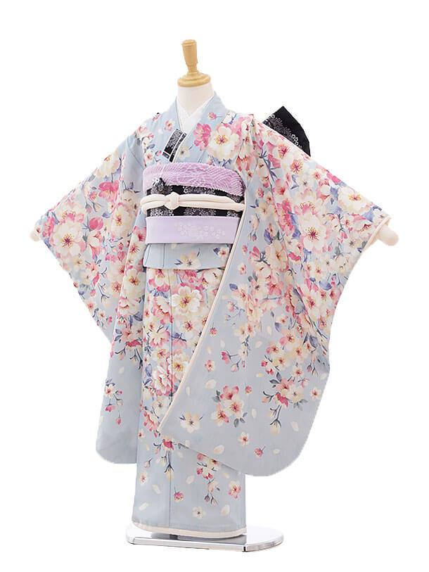 七五三レンタル(7歳女の子結び帯)7493 JILL STUART 水色 桜