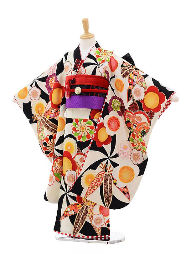 ▶七五三レンタル(7歳女の子結び帯)7498 JAPAN STYLE 黒 古典
