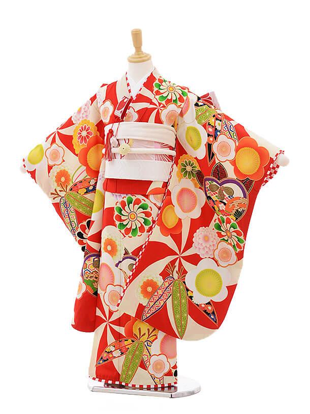 七五三レンタル(7歳女の子結び帯)7499 JAPAN STYLE 赤 古典