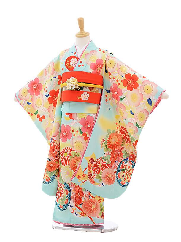 七五三レンタル(7歳女の子結び帯)7501 乙葉 水色 花車