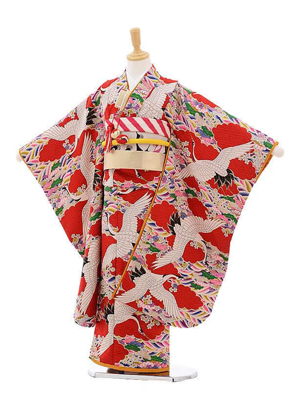 七五三レンタル(7歳女の子結び帯)7504 モダンアンテナ 赤 鶴と波