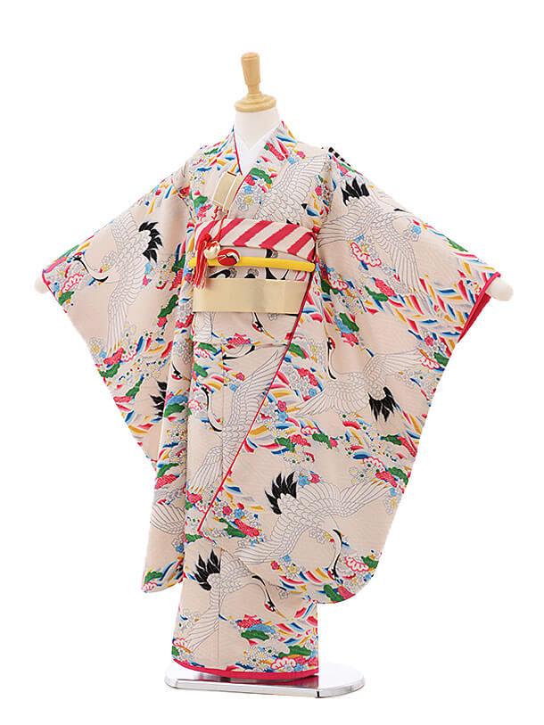 七五三レンタル(7歳女結び帯)7505 モダンアンテナ ベージュ鶴と波