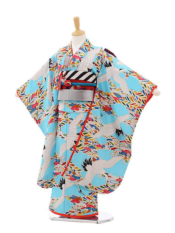 七五三レンタル(7歳女結び帯)7506 モダンアンテナ 水色 鶴と波