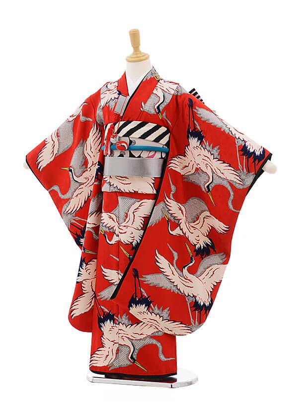 七五三レンタル(7歳女の子結び帯)7508 モダンアンテナ 赤 鶴モダン