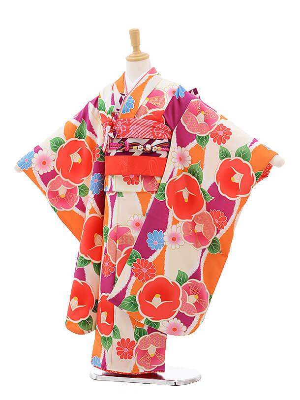 七五三レンタル(7歳女結び帯)7510 花わらべ パープル×オレンシジ椿