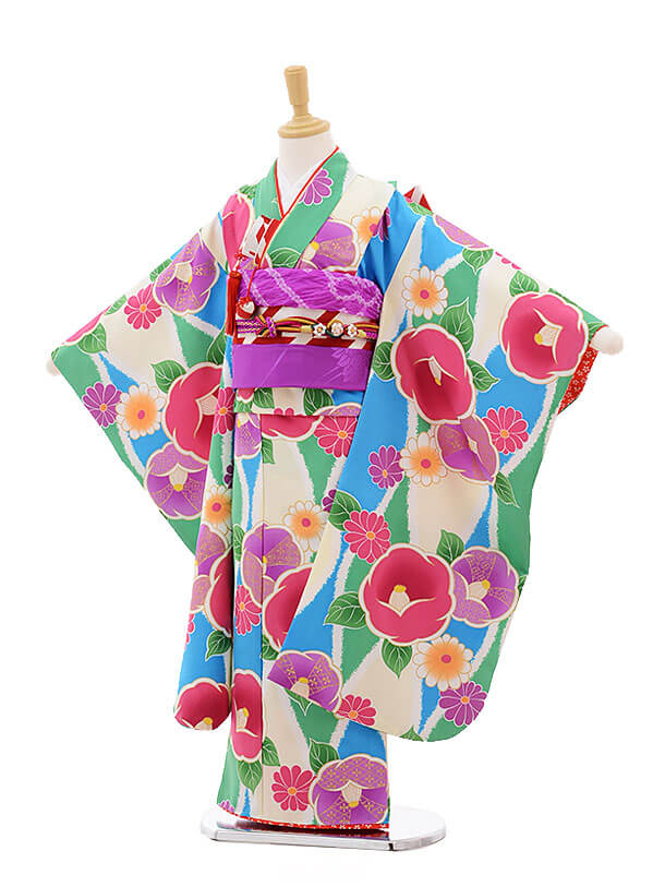 七五三レンタル(7歳女の子結び帯)7512 花わらべ 水色×グリーン 椿