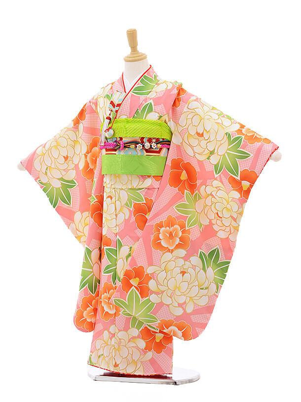 七五三レンタル(7歳女の子結び帯)7513 花わらべ ピンク地 ぼたん椿