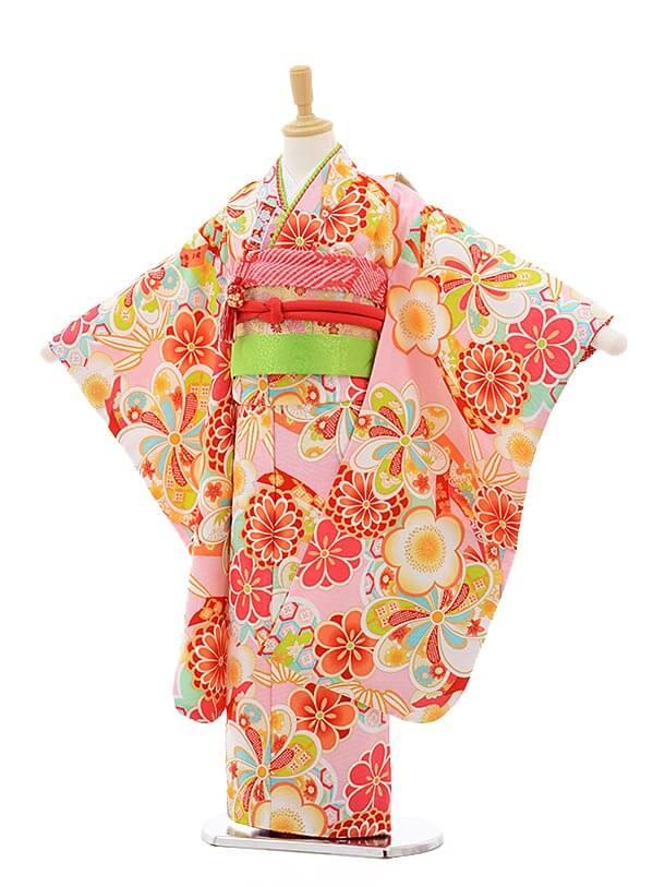 七五三レンタル(7歳女の子結び帯)7520 式部浪漫 ピンク地 古典 梅菊