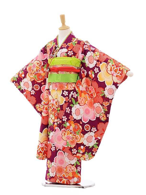 七五三レンタル(7歳女結び帯)7522 式部浪漫 パープル地 まり 桜