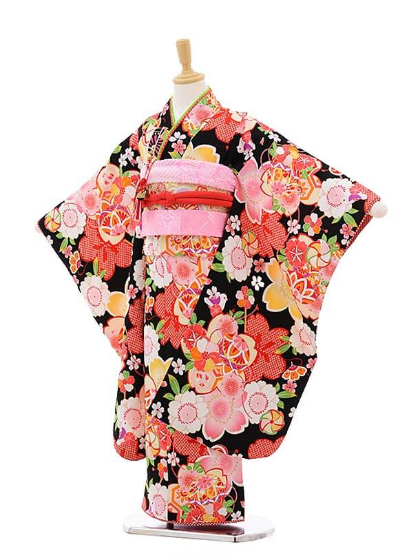 七五三レンタル(7歳女結び帯)7523 式部浪漫 黒地 まり 桜