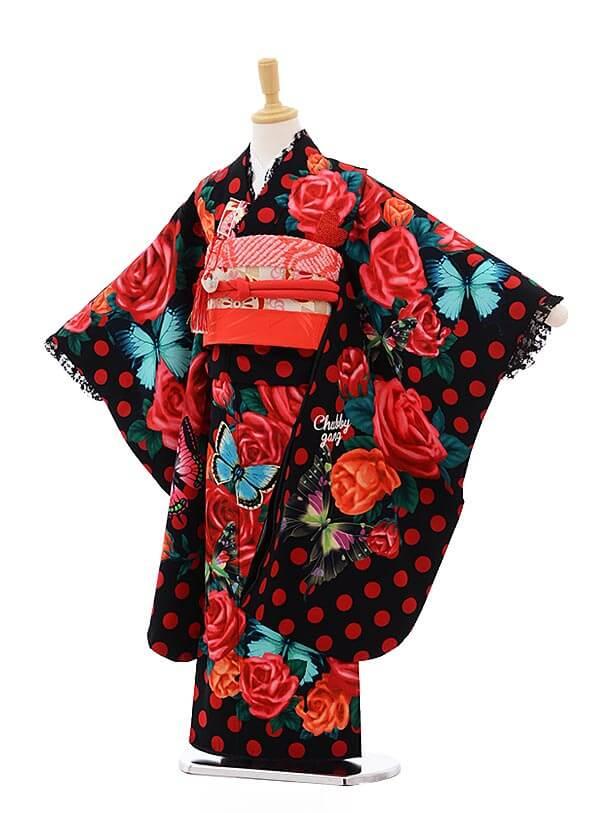 七五三レンタル(7歳女結び帯)7527 黒 赤ドット 蝶
