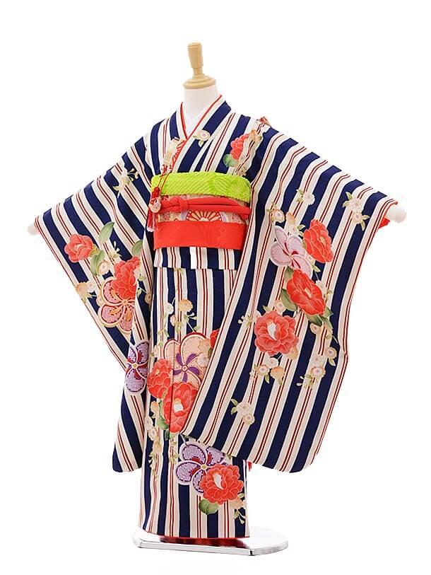 七五三レンタル(7歳女の子結び帯)7528 KAGURA 紺 ストライプ八重椿