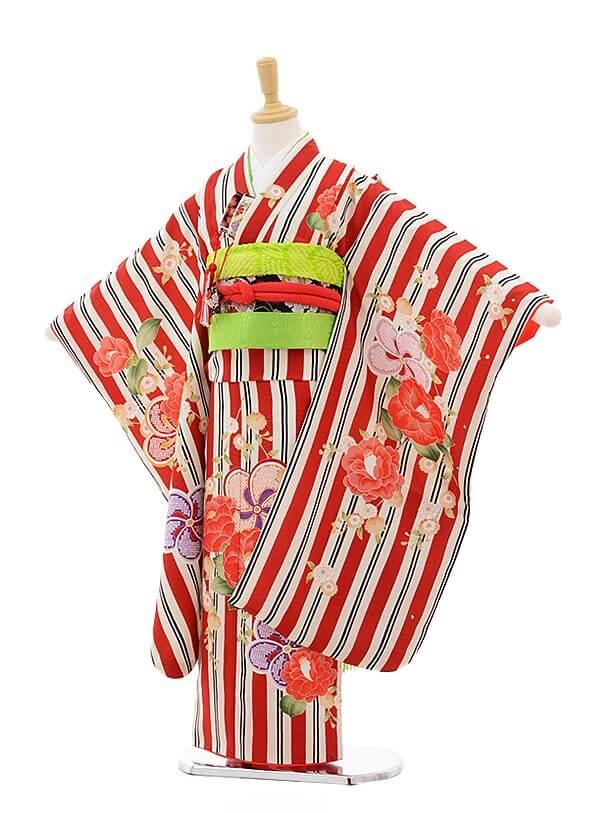 七五三レンタル(7歳女の子結び帯)7529 KAGURA 赤 ストライプ八重椿