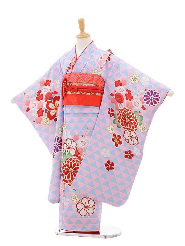 七五三レンタル(7歳女の子結び帯)7533 KAGURA 水色うろこ柄 梅菊