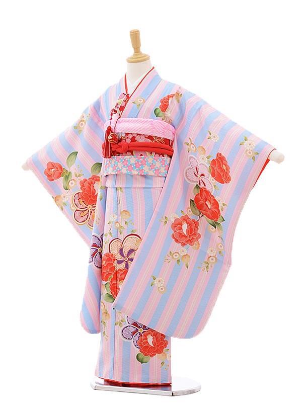 七五三レンタル(7歳女の子結び帯)7535 KAGURA 水色ストライプ八重桜
