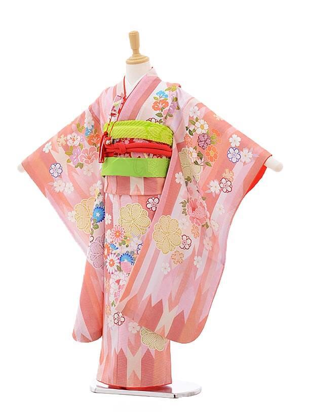 七五三レンタル(7歳女の子結び帯)7536 KAGURA ピンク 矢柄 花