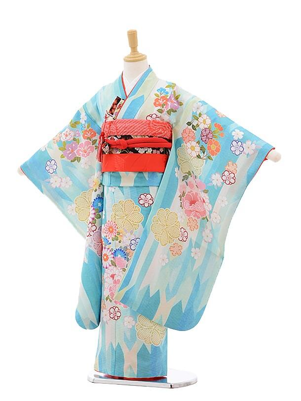 七五三レンタル(7歳女の子結び帯)7538 KAGURA 水色 矢柄 花