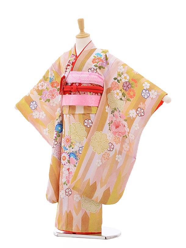 七五三レンタル(7歳女の子結び帯)7539 KAGURA からし色 矢柄 花
