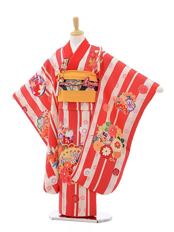 七五三レンタル(7歳女結び帯)7548 KAGURA 赤ストライプ 扇に牡丹