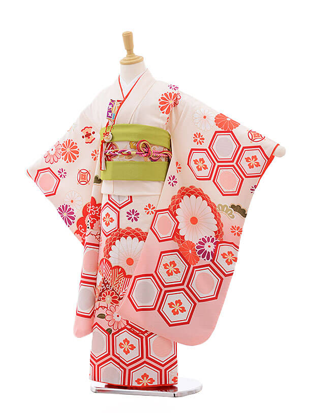 七五三(7歳女結び帯)7549 KAGURA クリームピンクぼかし 古典