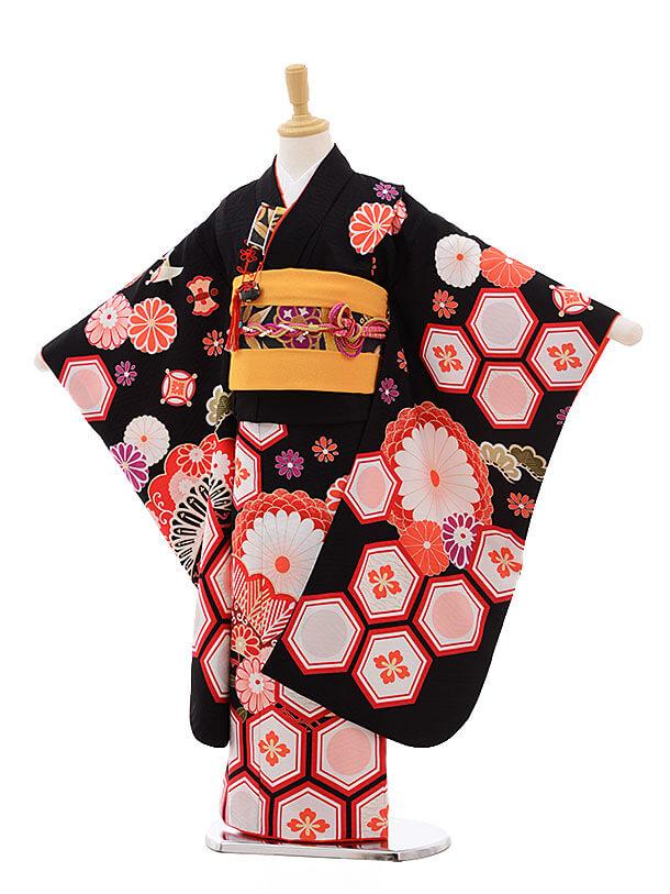 七五三レンタル(7歳女結び帯)7550 KAGURA 黒地 古典