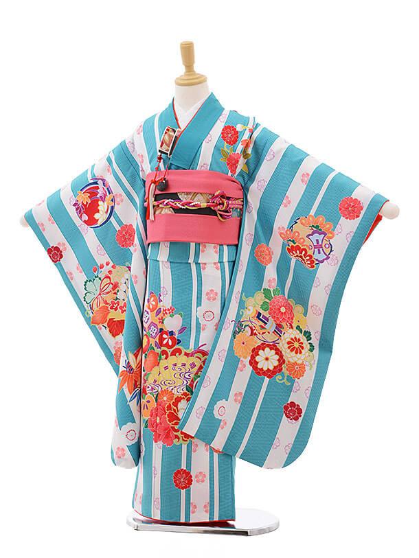 七五三(7歳女結び帯)7551 KAGURA ターコイズストライプ 扇に牡丹