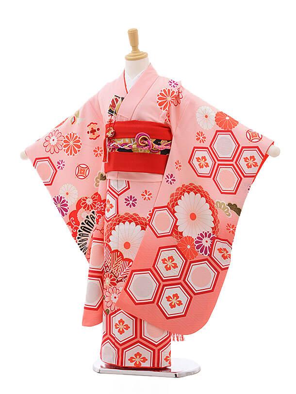 七五三レンタル(7歳女の子結び帯)7552 KAGURA ピンク地 古典
