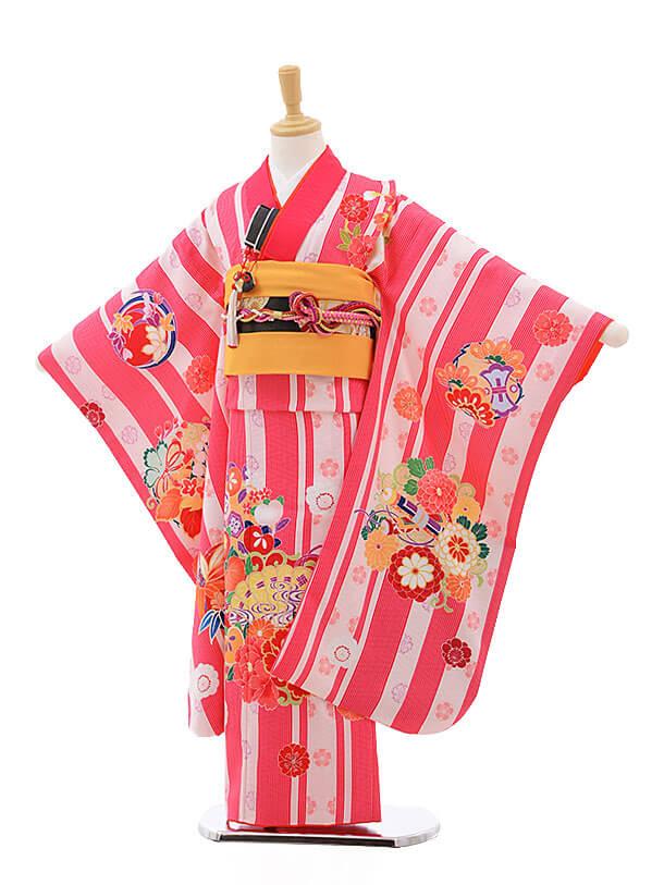 七五三レンタル(7歳女結び帯)7554 KAGURA ピンクストライプ 扇に牡丹