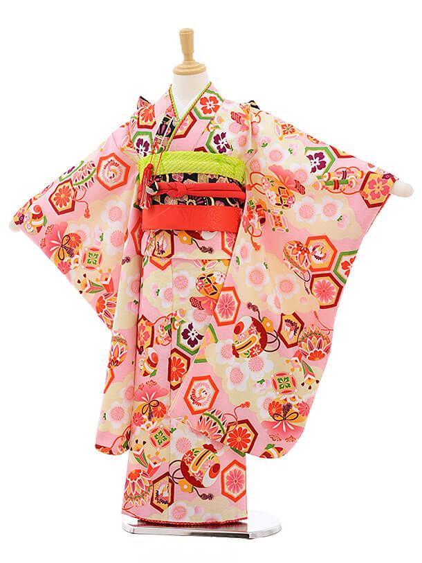 七五三レンタル(7歳女の子結び帯)7557 式部浪漫 ピンク 古典
