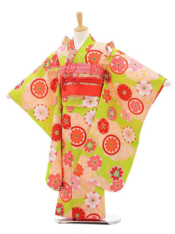 七五三レンタル(7歳女の子結び帯)7560 式部浪漫 グリーン地 丸紋桜