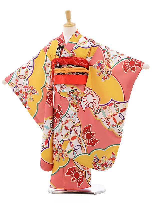 七五三レンタル(7歳女の子結び帯)7562 式部浪漫 サーモンピンク 黄色に雀