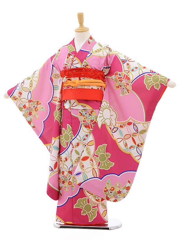 七五三レンタル(7歳女の子結び帯)7563 式部浪漫 ピンクに雀