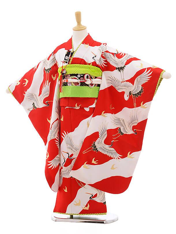 七五三レンタル(7歳女の子結び帯)7567 赤白 鶴