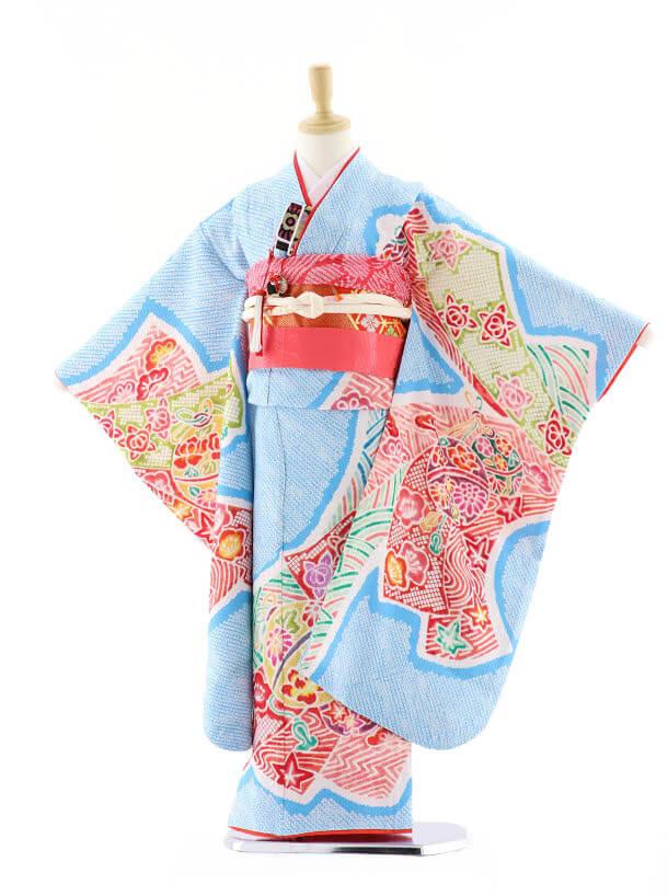 七五三レンタル(7歳女の子袋帯)7569 水色 鹿の子 まり (正絹)