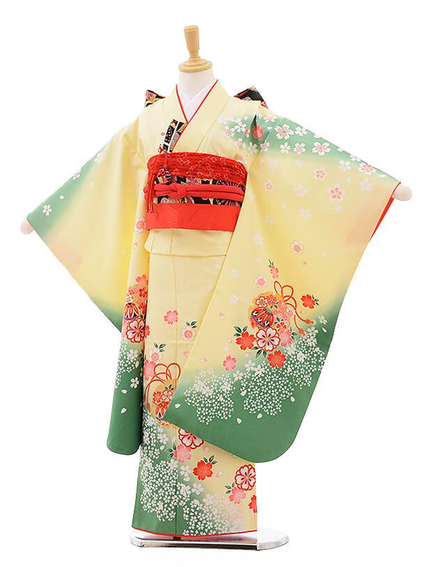 七五三レンタル(7歳女の子結び帯)7572 うす黄色 グリーンぼかし 桜